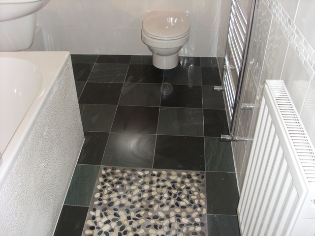 Slate bathroom flooring